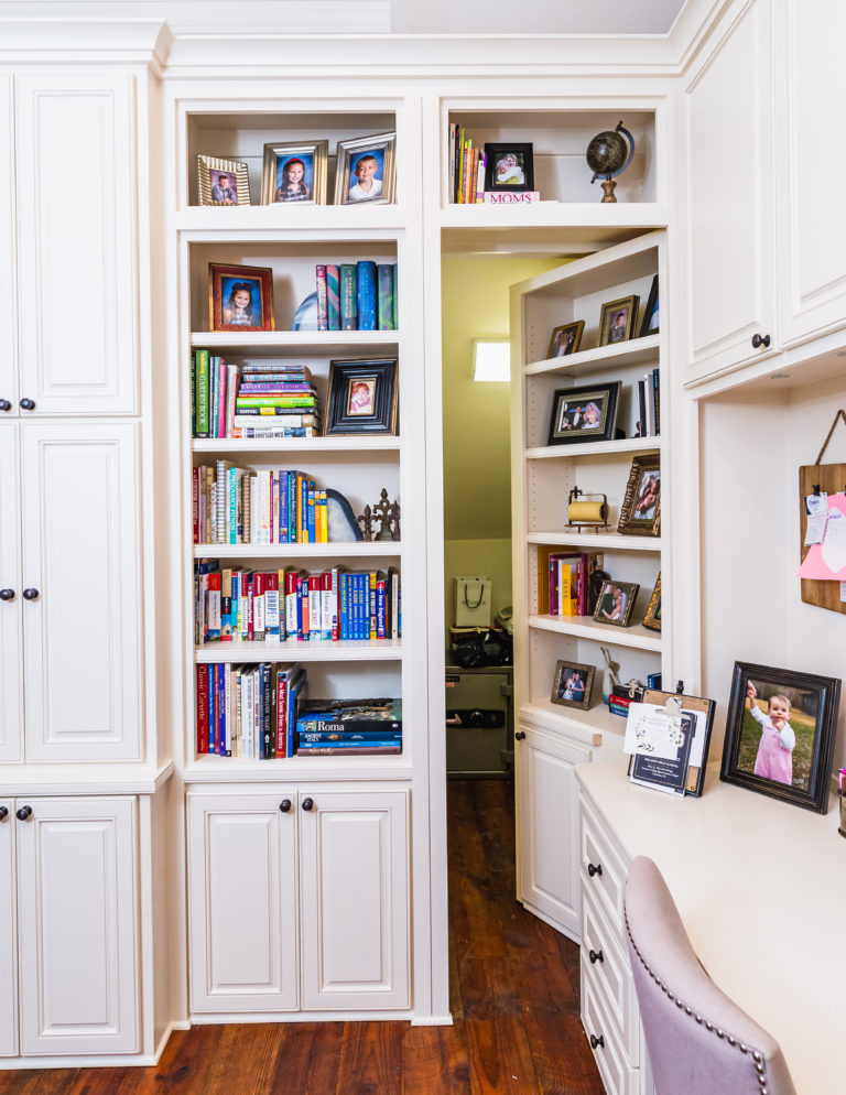 Custom Bookshelves with hidden door
